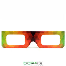 GloFX Paper Cardboard Diffraction Glasses – Geometric Rainbow (100 Pack) Raver