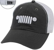 NEW JEEP WRANGLER OR WRANGLER UNLIMITED GREY / WHITE GRILLE LOGO HAT CAP!