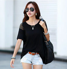 Women's Fashion Strapless Loose Short Sleeve Hollow Out T-Shirt Tops Blouse