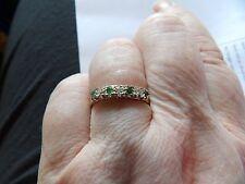 VINTAGE oro giallo 9 Carati Smeraldo Naturale & Diamante 7 Pietra Anello LINEA taglia R