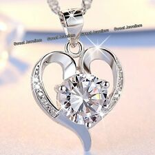 BLACK FRIDAY DEALS - Silver Heart Diamond Necklace Wife Xmas Gifts For Her Women