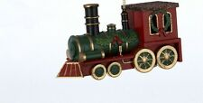 KURT S. ADLER OLD FASHIONED RED GREEN & GOLD NORTH POLE TRAIN CHRISTMAS ORNAMENT