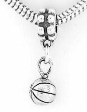 STERLING SILVER DANGLING 3D BASKETBALL EUROPEAN BEAD