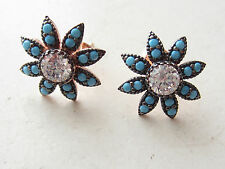 NEW ROSE GOLD PLATED 925 STERLING SILVER TURQUOISE TOPAZ  STUD EARRINGS HANDMADE