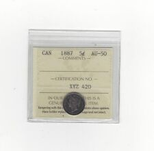 **1887** ICCS Graded Canadian, Small Silver 5 Cent, **AU-50**