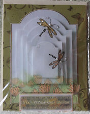 HANDMADE BEAUTIFUL 3D DRAGONFLIES FLYING AROUND THE FLOWERS BEST WISHES CARD