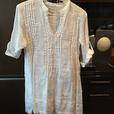 NEW CP Shades Regina White on White Floral Embroidered Linen Regina Dress XS