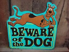 METAL DECOR SCOOBY DOO BEWARE OF THE DOG SIGN blue puppy brown black shop home