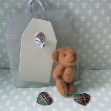 Send Your Own Message Tiny Soft Teddy Bear in Organza Sac Etiquette