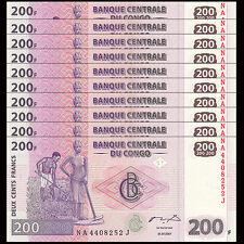 Lot 10 PCS, Congo 200 Francs, 2007, P-99,  UNC