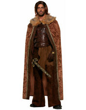 Adult Brown Faux Fur Trimmed Medieval King Accessory Cape