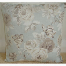 "16"" Cushion Cover Taupe Beige Brown and Ivory Roses Duck Egg Blue Floral Flowers"