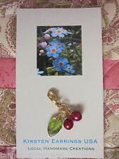 LINGONBERRY CRANBERRY RED DANGLE Natural PEARL Gold CHARM GREEN LEAF KIRSTEN USA