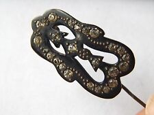 Antique Black Paste Rhinestone Celluloid Hat Stick Brooch Pin