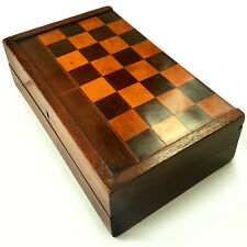 A BEAUTIFUL VICTORIAN ANTIQUE WOODEN INLAID FOLDING CHESS & BACKGAMMON BOARD