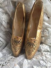 Gorgeous Antique Rare 1920s Metallic Gold Leather Beaded Shoes ~stunning Display