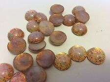 Pink Fire Opal cab Flatback Round Czech GLASS 13mm Pk 4 CRAFT Post Free