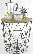 RETRO SIDE TABLE LOFT STYLE METAL WIRE BASKET & WOODEN LIFT OFF DETACHABLE LID