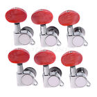 6R Guitar String Inline Tuning Pegs Tuners Machine Heads Amber Red Button Chrome