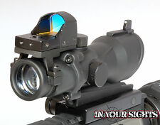ACOG Style Airsoft 4X32 Scope + Red Dot Doctor Reflex Sight fits 20mm Rifle rail