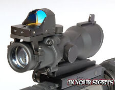 ACOG stile SOFTAIR 4X32 Portata + RED DOT Medico Riflesso visivo si adatta a 20mm RIFLE FERROVIA