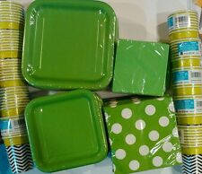 Lot 498 Green Polka Dot Birthday Party Paper Unique Luncheon Napkins Plates Cups