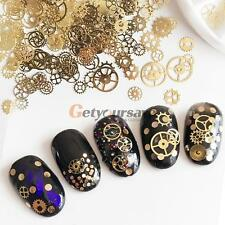1Box Big Gear Nail Art Studs Gold Silver 3D Nail Decoration For UV Gel Manicure