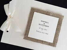 Personalised Handmade Vintage Rustic Hessian Wedding Card Guest Signing Book