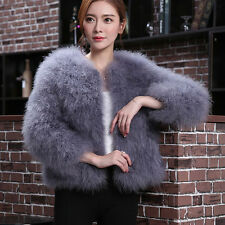 Women Real Ostrich Turkey Feather Fur Coat Jacket Sleeve Winter Warm Outwear