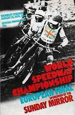 Speedway Programme WORLD CHAMPIONSHIP EUROPEAN FINAL Aug 1974 @ Wembley