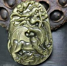 natural Gold Obsidian stone Hand carved Dragon charm pendant