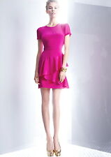 NWT $295 DKNY Stretch Silk Hot Pink Sweetheart Illusion Meshtop Ruffled Dress P