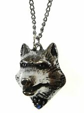 New Galraedia Lupercus Wolf Head Pendant Necklace Pewter Crystal GA12