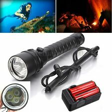 Underwater 100M 6000Lm 3X T6 LED Diving Scuba Flashlight 18650 Dive Torch