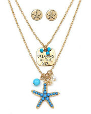 """Ocean Cruise Beach """"Dreaming of the Sea"""" Charm Necklace Set Turquoise/Goldtone"""