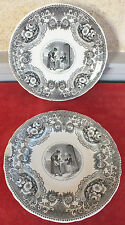 2 ASSIETTES PARLANTES FAIENCE VIEILLARD JOHNSTON BORDEAUX L'AUMONE