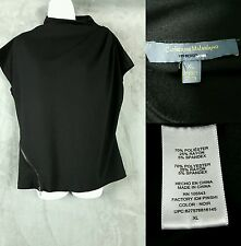 Catherine Malandrino For Design Nation Black Knit Stretch Top Blouse Size XL EUC
