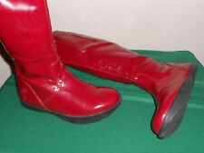 EARTH ELITE CHERRY PATENT BOOTS SIZE 7 WOMENS WATERPROOF KALSO NEGATIVE HEEL