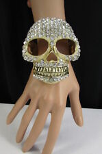 New Women Gold Metal Big Skull Cuff Bracelet Fashion Jewelry Silver Rhinestones