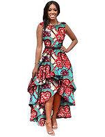 Abiti africani, women's Stampato Ankara Donne Abito Estivo, indumenti tradizionali