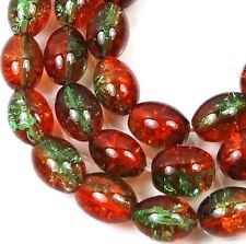 8x6mm Czech Glass Crackle Cracked Barrel Rice Beads - Green / Amber (50) 16""