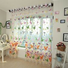 Butterflies Voile Curtains Divider Window Curtain Drape Panel Sheer GA