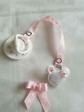REBORN BABY PINK  & WHITE HEART MAGNETIC POUCH DUMMY~& DUMMY CLIP & HAIR BOW