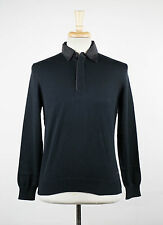 New. ZEGNA SPORT Oxford Blue Cotton Polo Sweater Size Large $285