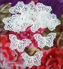 10 White Rayon Butterfly Venise GUIPURE LACE APPLIQUE bride baby card doll trim