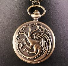 Alloy Game of Thrones Targaryen Dragons Pocket Watch w/Free Jewelry Box and Ship