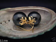 Gold Plated 16MM **HUGE** BLACK AAA Seashell Pearl Earrings Australia Seller 153