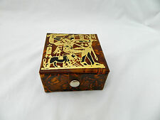 """Egyptian Camel Leather Jewelry Box King Tut Hunting Deisgn 3.75"""" #132"""