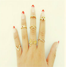 1 Set 7pcs Womens New Fashion Bowknot Knuckle Midi Mid Finger Tip Stacking Rings