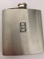 Ace Of Hearts Card R150 English Pewter Emblem on a 6oz Stainless Steel Hip Flask